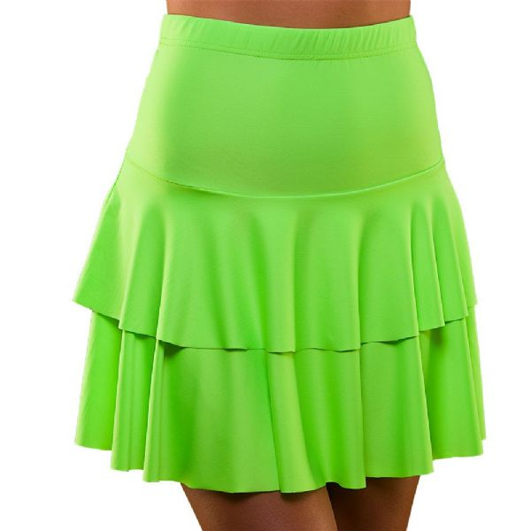 Ladies 80's Neon Ra Ra Skirt - Green Fancy Dress Disco Madonna 90s Costume